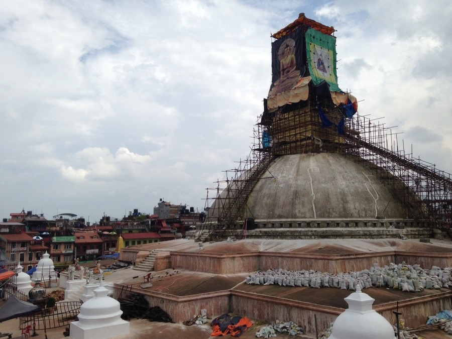 The World Heritage Boudhanath site on the outskirts of Kathmandu was also in the process of being rebuilt.
